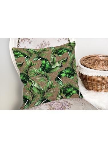 Real Homes Çuval Zeminde Yeşil Yaprak Desenli Özel Tasarım Yastık Kırlent Kılıfı Renkli